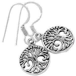 Tree of Life 925 Sterling Silver Earrings Plain Design Jewelry SPJ2079