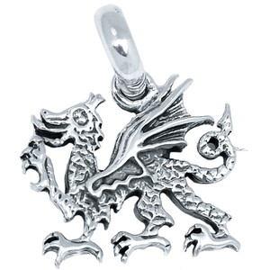 Welsh Dragon 925 Sterling Silver Pendant Plain Design Jewelry SPJ2104