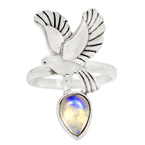 American Bird - Moonstonte 925 Sterling Silver Ring Jewelry s.6 12547R