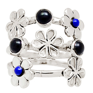 Black Onyx & Lapis 925 Sterling Silver Ring Jewelry s.7.5 13987P