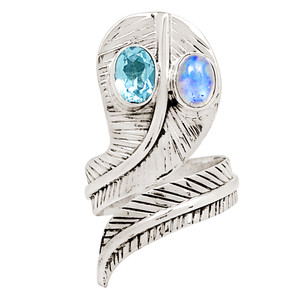Blue Topaz & Moonstone 925 Sterling Silver Ring Jewelry s.7 14306P