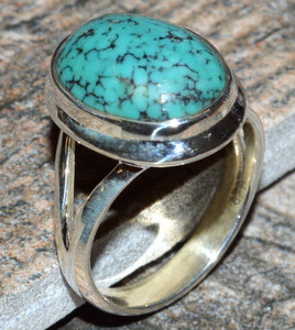 Tibetan Turquoise 925 Sterling Silver Ring Jewelry s.6 JJ7032