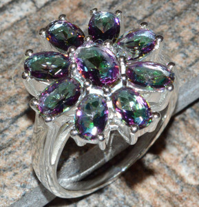 Rainbow Topaz 925 Sterling Silver Ring Jewelry s.7.5 JJ7382