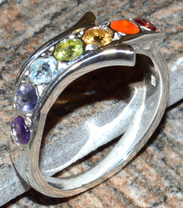 Healing Chakra 925 Sterling Silver Ring Jewelry s.7.5 JJ7386