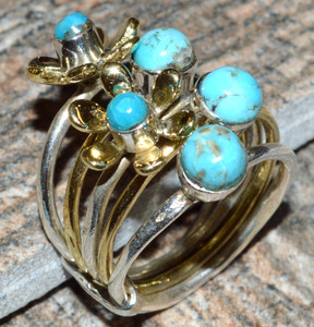 Blue Turquoise 925 Sterling Silver Ring Jewelry s.5 JJ7366