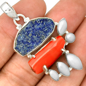Lapis Rough, Bamboo Coral & Pearl 925 Silver Jewelry PP77484