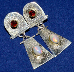 Ethiopian Opal & Garnet Two Toned 925 Sterling Silver Earrings Jewelry JJ7955