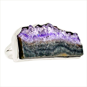 Amethyst Stalactites 925 Sterling Silver Ring Jewelry s.10 17738R