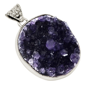 12g Amethyst Druzy 925 Sterling Silver Pendant Jewelry 18522P