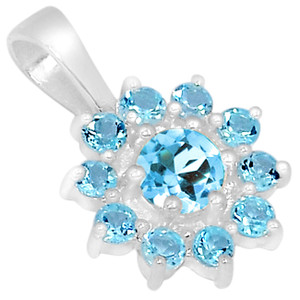 Blue Topaz 925 Sterling Silver Pendant Jewelry AAAP1298BT