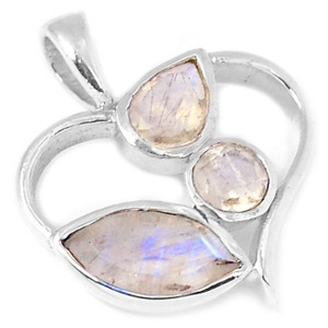 Rainbow Moonstone 925 Sterling Silver Pendant Jewelry P1276RM