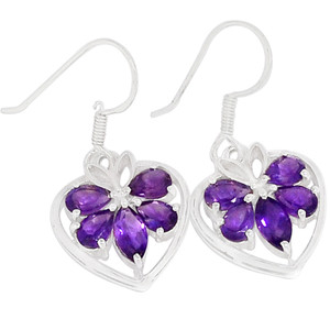 Amethyst 925 Sterling Silver Earrings Jewelry ER2281A