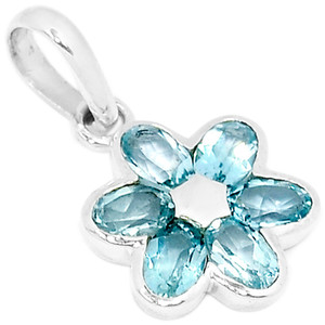 Blue Topaz 925 Sterling Silver Pendant Jewelry AAAP1376BT