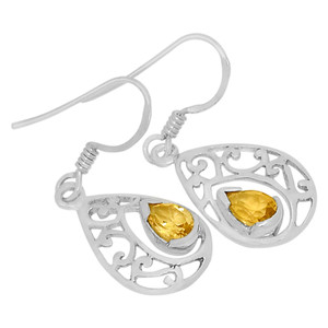 Citrine 925 Sterling Silver Earrings Jewelry ER2105C