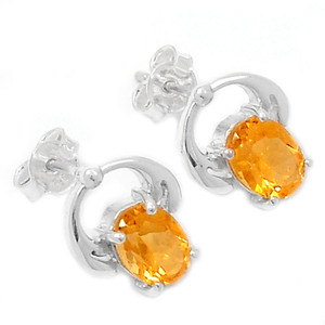 Citrine 925 Sterling Silver Earrings Jewelry ER2219C