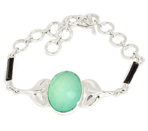 13g Alaskan Whale Tail - Faceted Aqua Chalcedony 925 Silver Jewelry SB15632