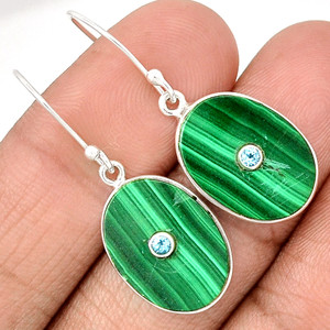 Centre Of Universe' Malachite 925 Sterling Silver Earring Jewelry EE75343