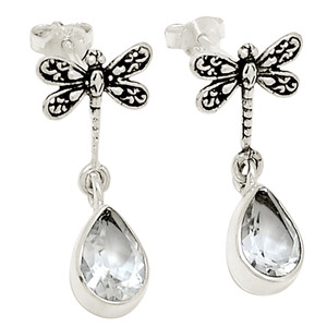 Dragonfly - White Topaz 925 Sterling Silver Earring Jewelry 18696E