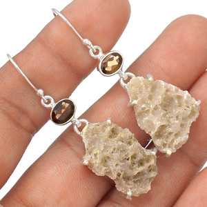Smokey Quartz & Smokey Topaz 925 Silver Earrings Jewelry EE71156