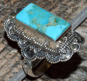 JJ8243 Sleeping Beauty Turquoise 925 Silver Ring Jewelry s.7