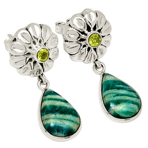 Amazonite & Peridot 925 Sterling Silver Earring Jewelry 19968E