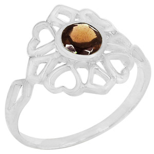 Smokey Quartz 925 Sterling Silver Ring Jewelry s.6 R5210S-6