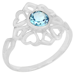 Blue Topaz 925 Sterling Silver Ring Jewelry s.8 R5210B-8