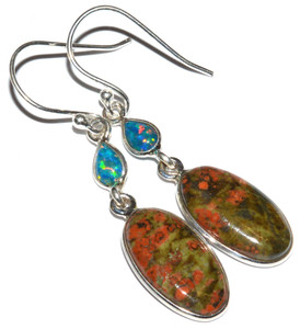 Unakite 925 Sterling Silver Earrings Jewelry JJ9252