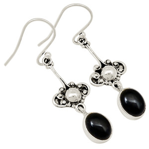 Asian - Black Onyx 925 Sterling Silver Earrings Jewelry 20659E