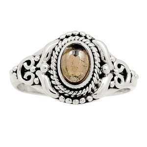 Artisan - Smokey Cabochons 925 Sterling Silver Ring Jewelry s.9 22484R