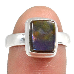 Genuine Canadian Ammolite 925 Silver Ring Jewelry s.6.5 RR138591