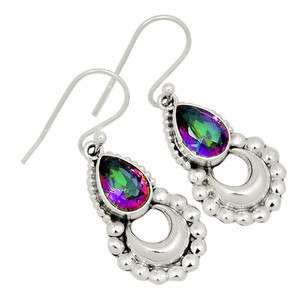 Crescent Moon - Rainbow Topaz 925 Sterling Silver Earring Jewelry 22332E