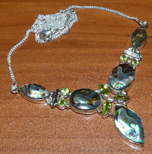 Mermaids Dream Abalone Shell & Peridot 925 Sterling Silver Necklace  JJ10822