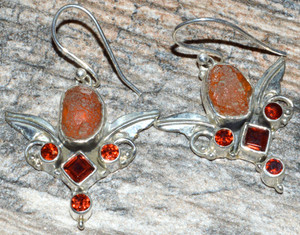 Angel Wing - Carnelian & Garnet 925 Sterling Silver Earrings Jewelry JJ10593