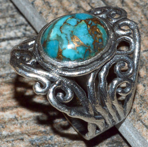 Copper Blue Turquoise 925 Sterling Silver Ring Jewelry s.7.5 JJ10904