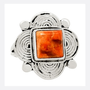 Coral 925 Sterling Silver Ring Jewelry s.7 23809R