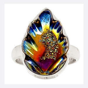 Hand Carved - Titanium Aura Quartz 925 Sterling Silver Ring Jewelry s.6 23715R