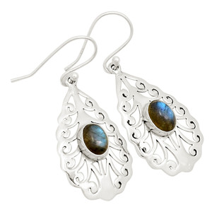 Hand Crafted Artisan - Labradorite 925 Sterling Silver Earrings Jewelry 24820E