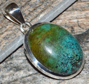 Natural Tibetan Turquoise 925 Sterling Silver Pendant Jewelry JJ10983