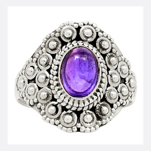 Bali Design - Amethyst 925 Sterling Silver Ring Jewelry s.6 23789R