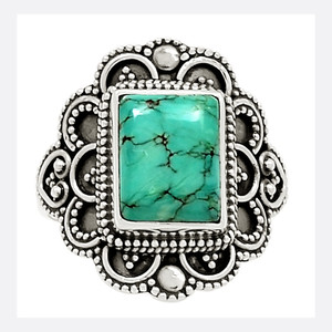 Bali Design - Tibetan Turquoise 925 Sterling Silver Ring Jewelry s.8 23779R