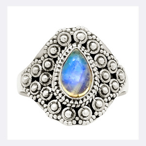 Bali Design - Moonstone 925 Sterling Silver Ring Jewelry s.7.5 23825R