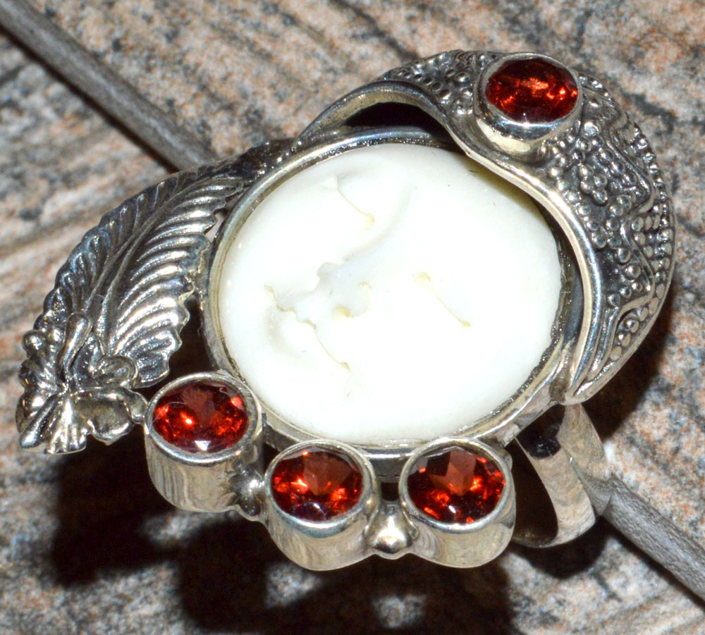 Balinese Goddess Bone Carved Face 925 Sterling Silver Ring Jewelry S 6 Jj10834