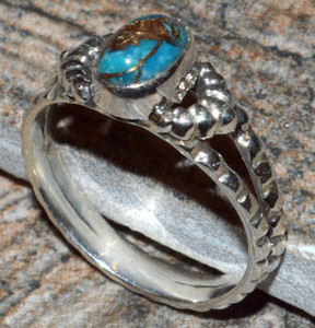 Copper Blue Turquoise 925 Sterling Silver Ring Jewelry s.6.5 JJ10905
