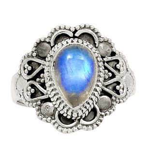 Bali Design - Moonstone 925 Sterling Silver Ring Jewelry s.6 23686R