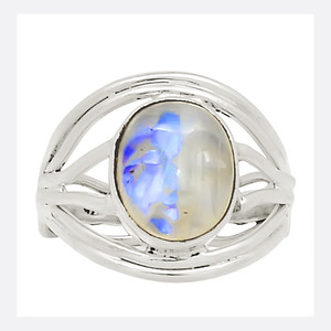 Balinese Goddess Carved Face - Moonstone 925 Silver Ring Jewelry s.8.5 23823R