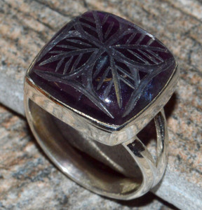 Hand Carved - Rainbow Fluorite 925 Sterling Silver Ring Jewelry s.5.5  JJ10883