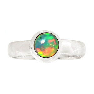 Ethiopian Opal 925 Sterling Silver Ring Jewelry s.7 24028R