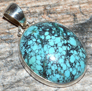 Natural Tibetan Turquoise 925 Sterling Silver Pendant Jewelry JJ10427