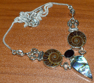 Mermaids Dream Abalone Shell & Ammonite 925 Sterling Silver Necklace  JJ10827